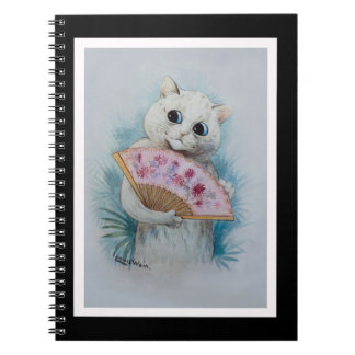 Louis Wain White Cat with Pink Fan Notebooks