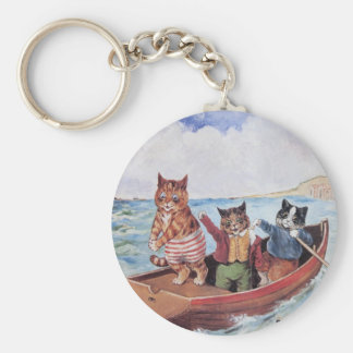 Louis Wain's Cats in a Canoe Keychains