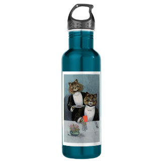 Louis Wain's Cat's Night Out - Cute Vintage Cats 24oz Water Bottle