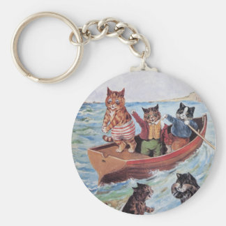 Louis Wain's Swimming Cats Basic Round Button Keychain