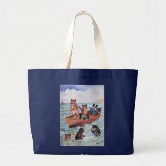 Louis Wain's Swimming Cats Large Tote Bag