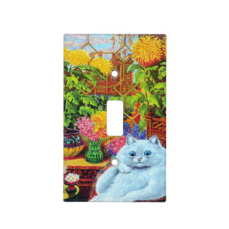 Louis Wain's White Cat in Garden Room Light Switch Cover
