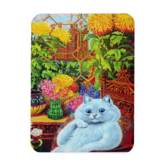 Louis Wain's White Cat in Garden Room Magnet