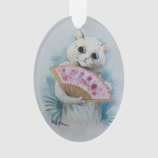 Louis Wain's White Cat with Pink Fan