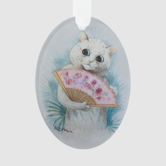 Louis Wain's White Cat with Pink Fan Ornament