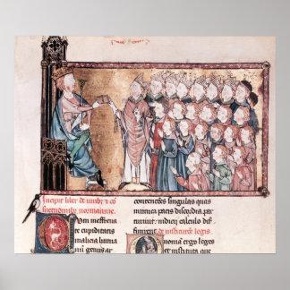 Louis X obstinado dando la carta a Póster