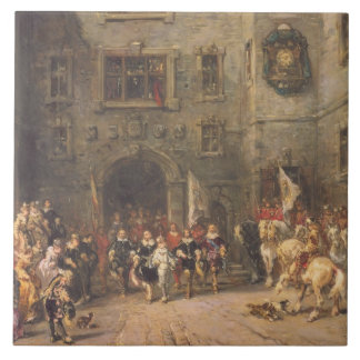 Louis XIII at the chateau of Blois, 1874 (oil on c Ceramic Tile