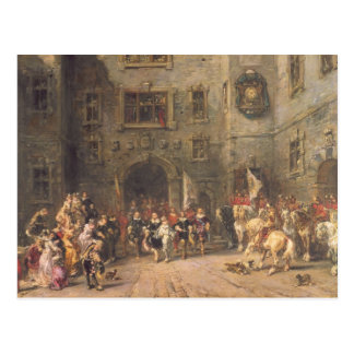 Louis XIII at the chateau of Blois, 1874 (oil on c Postcard