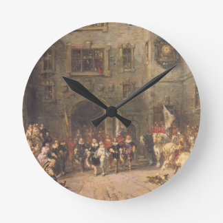 Louis XIII at the chateau of Blois, 1874 (oil on c Round Clock