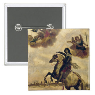 Louis XIII  at the Siege of La Rochelle 2 Inch Square Button