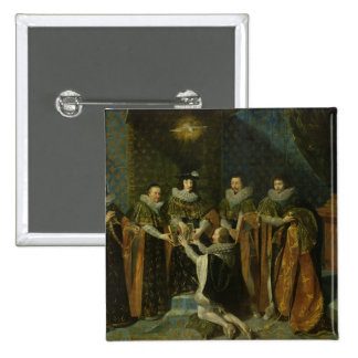 Louis XIII  Receiving Henri d'Orleans 2 Inch Square Button