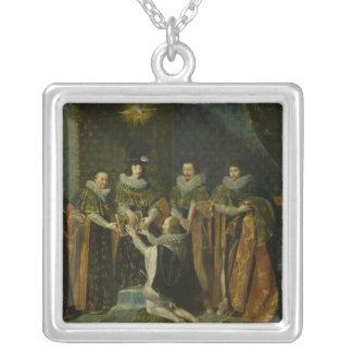 Louis XIII  Receiving Henri d'Orleans Square Pendant Necklace