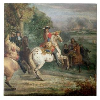 Louis XIV (1638-1715) que supervisa el cerco de un Azulejo Cuadrado Grande