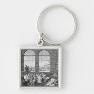 Louis XIV  and his Entourage Visiting Silver-Colored Square Keychain