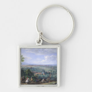 Louis XIV  at the Siege of Lille facing the Silver-Colored Square Keychain