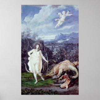 Louis XIV como Apolo asesino del pitón Poster