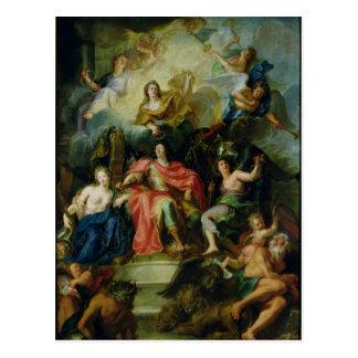 Louis XIV coronado por la gloria, c.1686 Tarjeta Postal