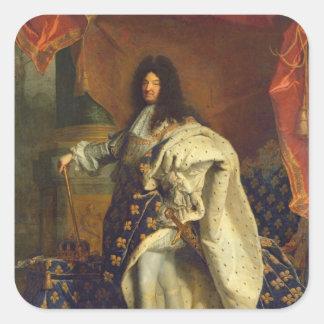 Louis XIV en traje real, 1701 Pegatina Cuadrada