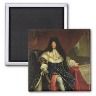 Louis XIV  Holding a Plan of the Maison Royale 2 Inch Square Magnet