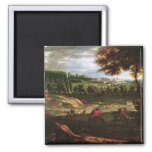 Louis XIV  Hunting at Marly with a View 2 Inch Square Magnet
