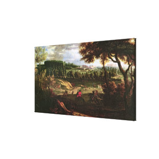 Louis XIV  Hunting at Marly with a View Canvas Print