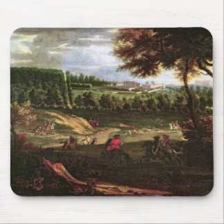 Louis XIV  Hunting at Marly with a View Mouse Pad