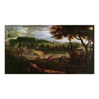 Louis XIV  Hunting at Marly with a View Poster