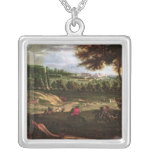 Louis XIV  Hunting at Marly with a View Square Pendant Necklace