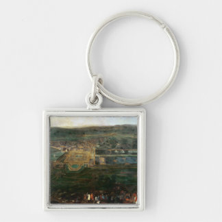 Louis XIV  hunting near chateau of Fontainebleau Silver-Colored Square Keychain