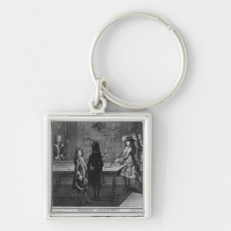 Louis XIV playing billiards with his brother Silver-Colored Square Keychain