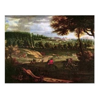 Louis XIV que caza en margoso con una visión Tarjeta Postal