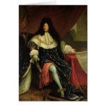 Louis XIV que lleva a cabo un plan del Maison Roya Felicitaciones