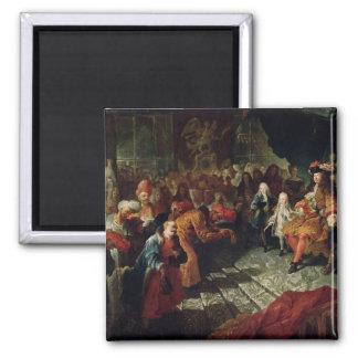 Louis XIV que recibe al embajador persa Imán Cuadrado