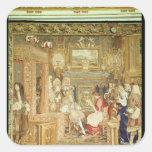 Louis XIV que recibe al legado papal Calcomanías Cuadradas