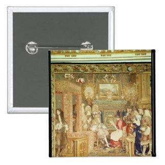 Louis XIV  receiving the Papal Legate 2 Inch Square Button