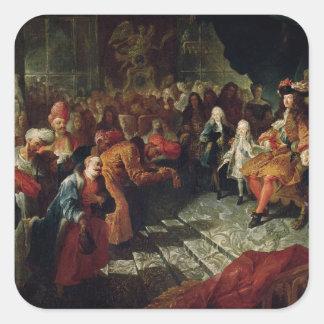 Louis XIV  receiving the Persian Ambassador Square Sticker