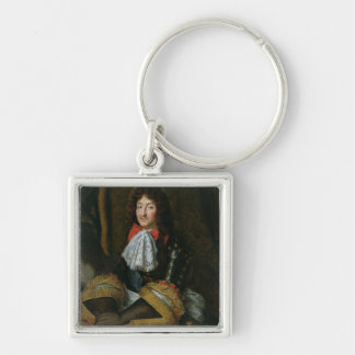 Louis XIV Silver-Colored Square Keychain