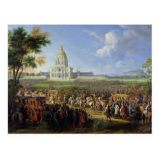 Louis XIV su comitiva que visita Les Invalides Postales