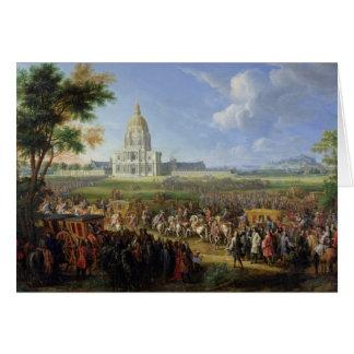 Louis XIV su comitiva que visita Les Invalides Tarjeta De Felicitación