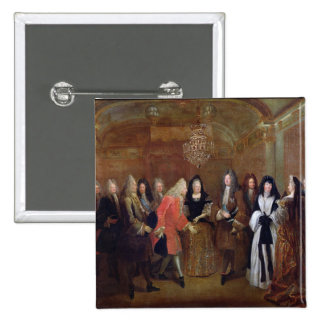 Louis XIV  welcomes the Elector of Saxony 2 Inch Square Button