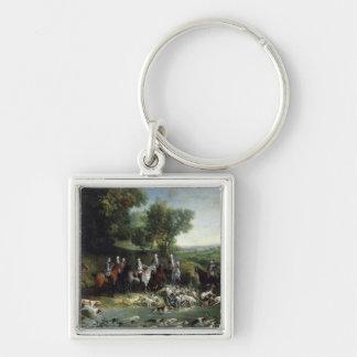 Louis XV 2 Silver-Colored Square Keychain
