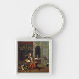 Louis XV  and the Regent, Philippe II Silver-Colored Square Keychain