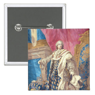 Louis XV  in Coronation Robes 2 Inch Square Button