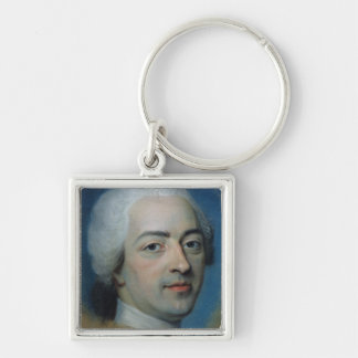Louis XV  King of France and Navarre, after 1730 Silver-Colored Square Keychain