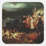 Louis XV que visita el campo de la batalla Pegatina Cuadradas