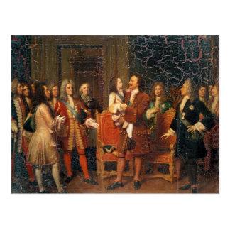 Louis XV  Visiting Peter I Postcard