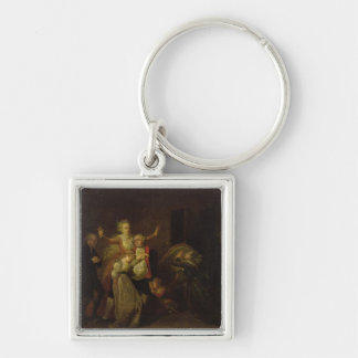Louis XVI  Bidding Farewell to his Family Silver-Colored Square Keychain