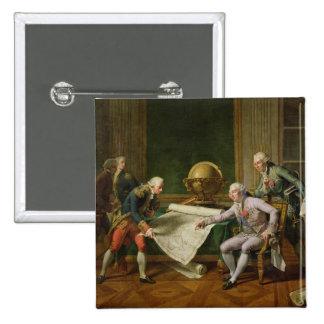 Louis XVI  Giving Instructions to La Perouse 2 Inch Square Button