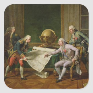 Louis XVI  Giving Instructions to La Perouse Square Sticker