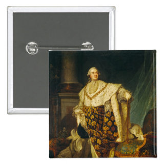 Louis XVI  King of France in Coronation Robes 2 Inch Square Button